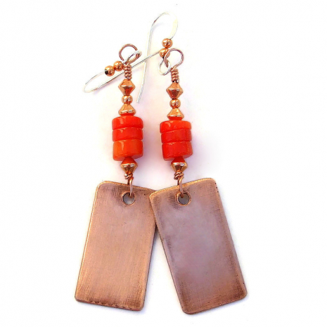copper backside of cactus dangle earrings