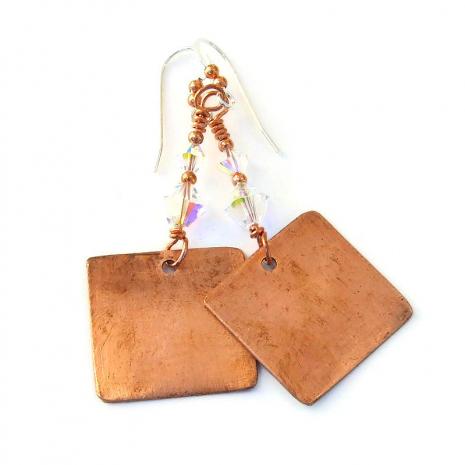 copper backside of christmas earrings