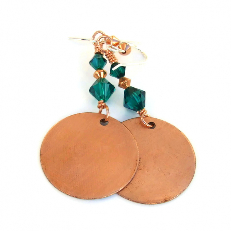 copper backside of christmas tree earrings