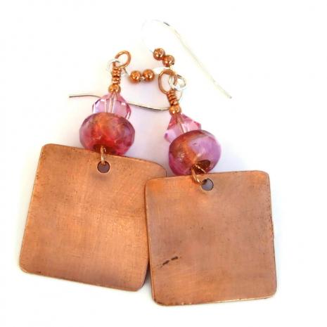 copper backside of owl earrings
