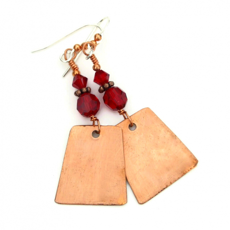 copper backside of red poppy earrings