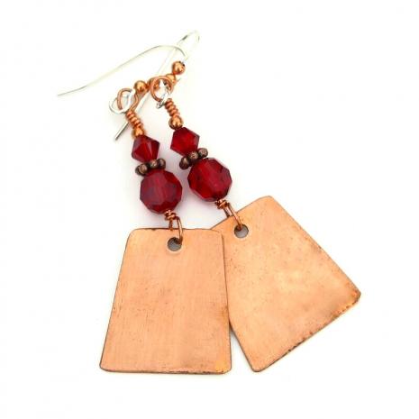 copper backside of red poppy earrings