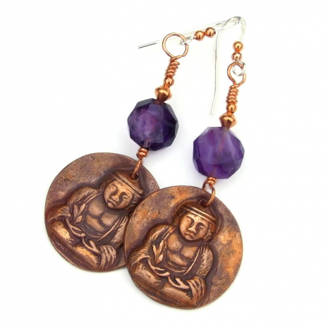 copper buddha and amethyst jewelry gift for women