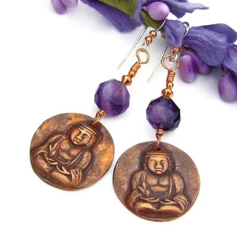 copper buddha and purple amethyst earrings