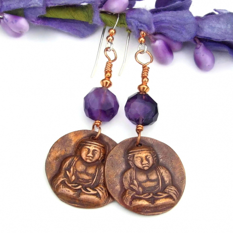 copper buddha and purple amethyst jewelry