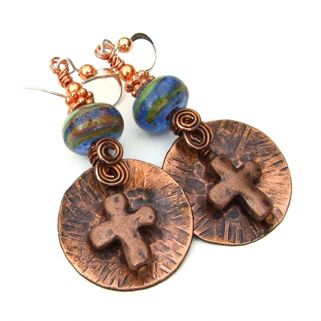 copper cross jewelry gift for women