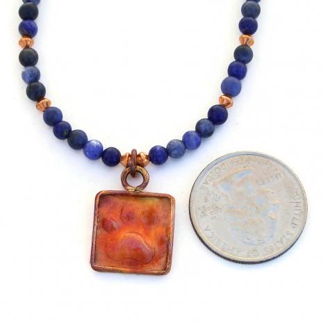 copper dog paw print handmade jewelry