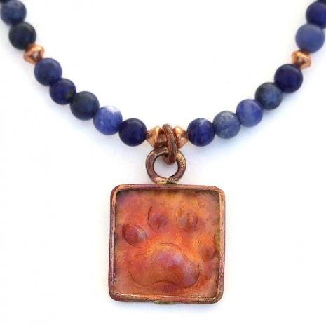copper dog paw print handmade necklace