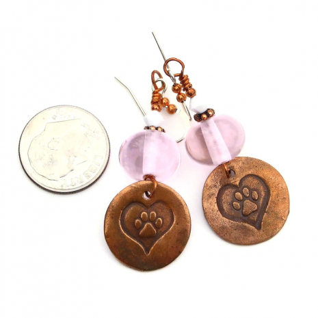 copper dog paw print jewelry gift for her