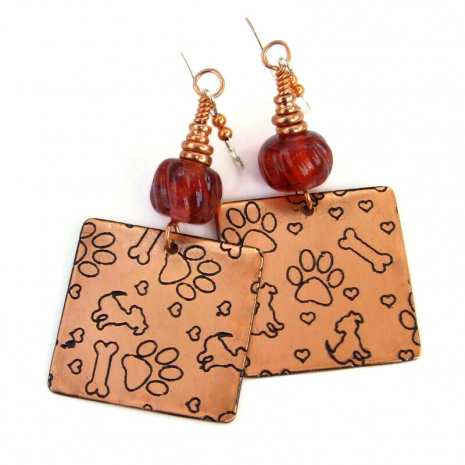 copper dogs paw prints bones lampwork jewelry gift for her