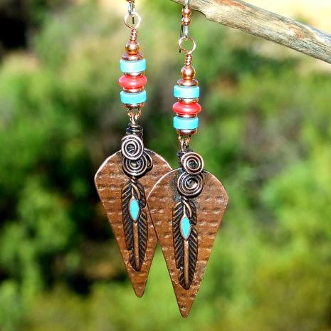 copper feather earrings gift for women