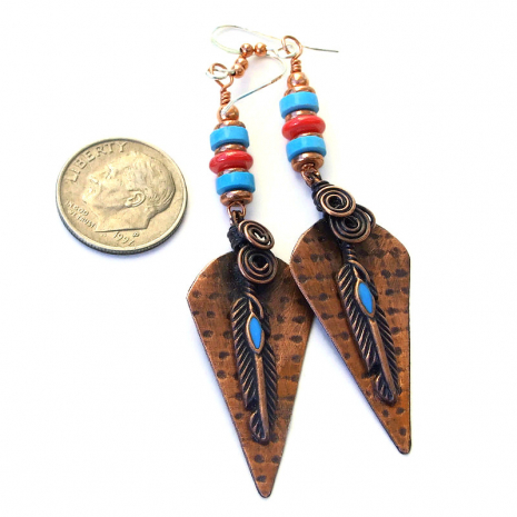 copper feather jewelry gift for women