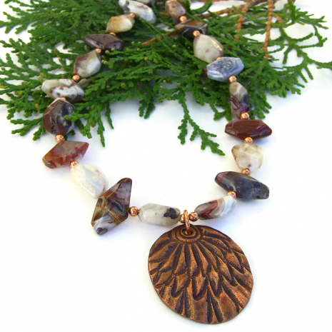copper feather pendant jewelry with mixed agate gemstones