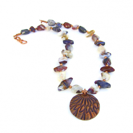 copper feather pendant necklace with mixed agate gemstones