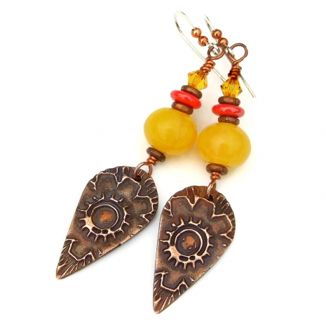 copper flower autumn jewelry gift for women