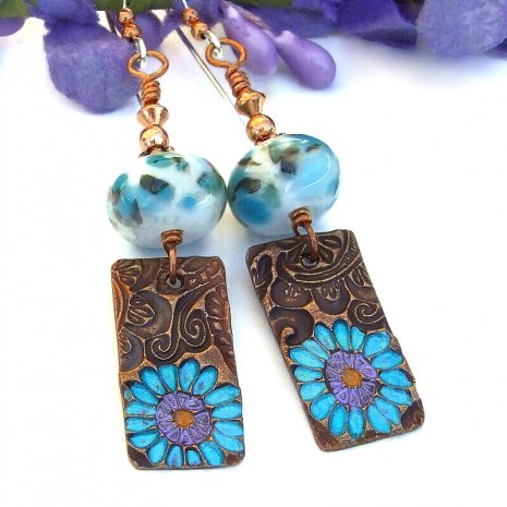 copper flower earrings with lampwork