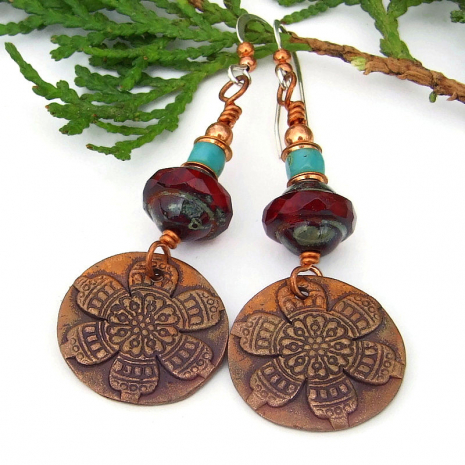 copper flower earrings with mandala design and czech glass