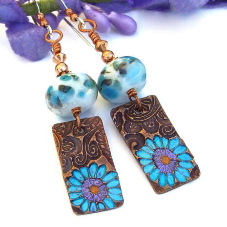copper flower jewelry with lampwork