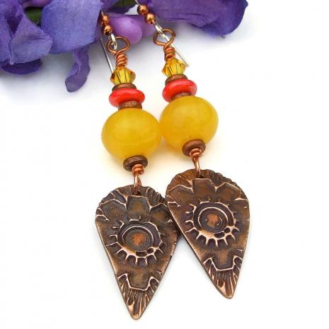 copper flower sun yellow copal earrings