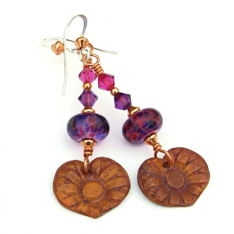 copper flowers and purple lampwork earrings