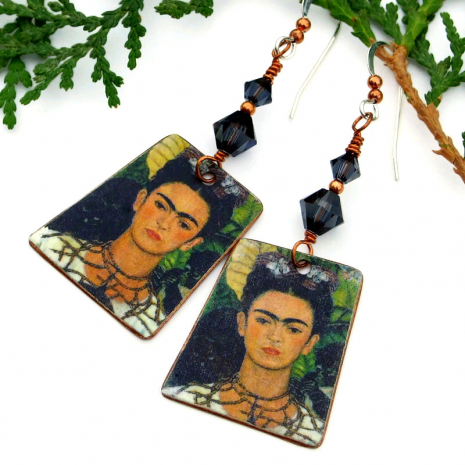 copper frida kahlo faux vintage tin earrings with crystals