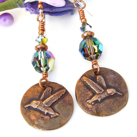 copper hummingbird earrings jewelry with swarovski crystals