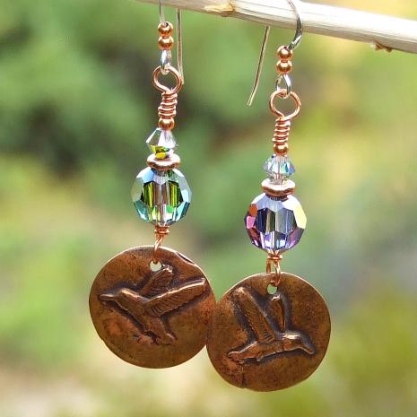copper hummingbird swarovski crystal earrings gift for her