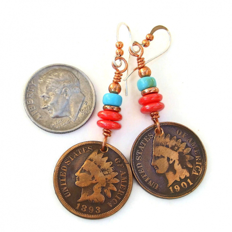 copper indian head penny earrings