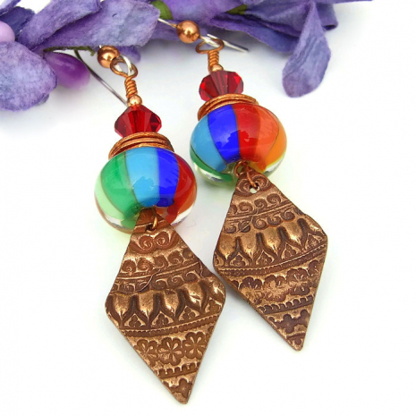 Copper Moroccan lace and rainbow glass earrings
