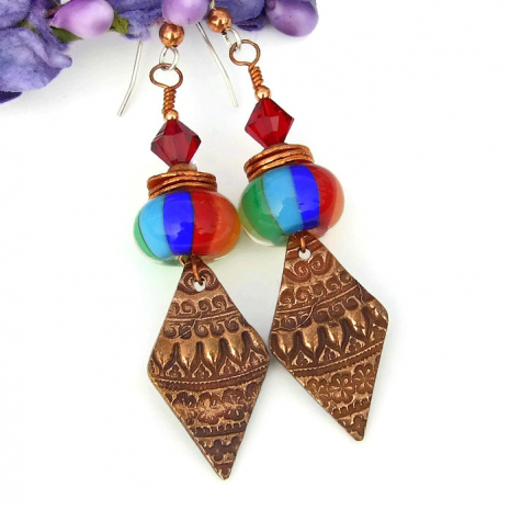 unique rainbow lampwork and copper earrings gift idea for women