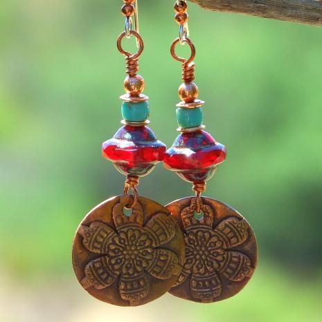 copper mandala flower dangle earrings for her