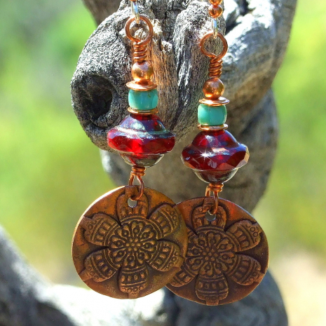 copper mandala flower dangle jewelry for her