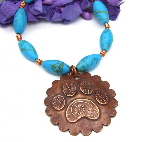 copper paisley paw print jewelry turquoise magnesite gemstones