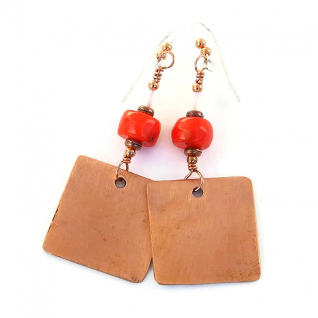 copper and red poppies earrings