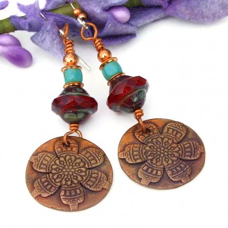 copper red turquoise flower mandala earrings gift for her