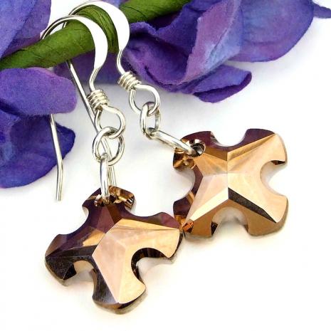 copper rose greek cross jewelry swarovski crystals