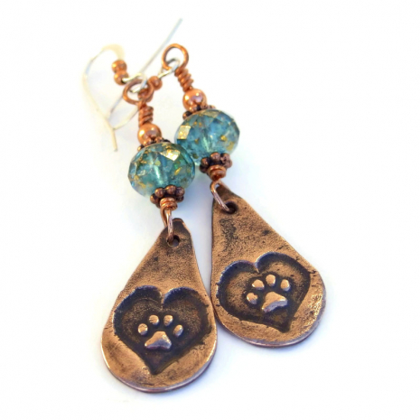 copper teardrop dog paw print earrings