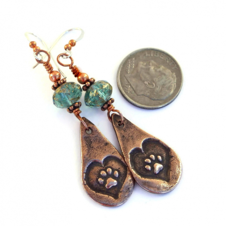 copper teardrop dog paw print jewelry