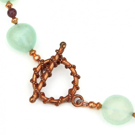 copper toggle clasp set with wrapped rope design
