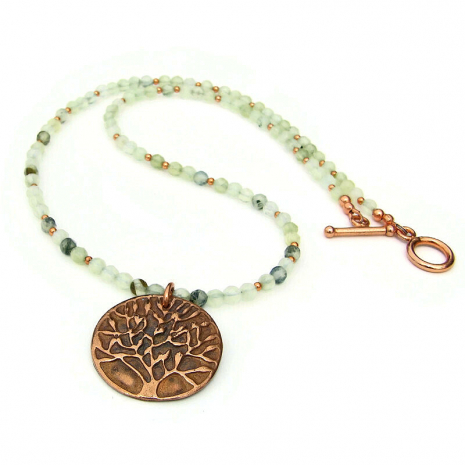 copper tree of life gemstones necklace gift for her