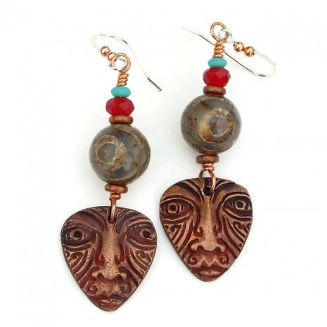 tribal face mask and tibetan eye agate boho earrings