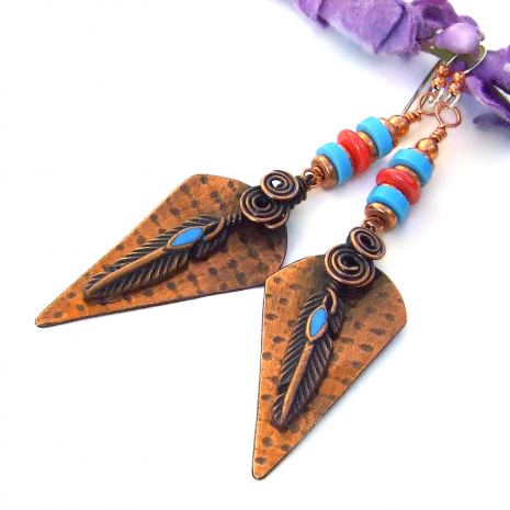 copper turquoise coral feather earrings