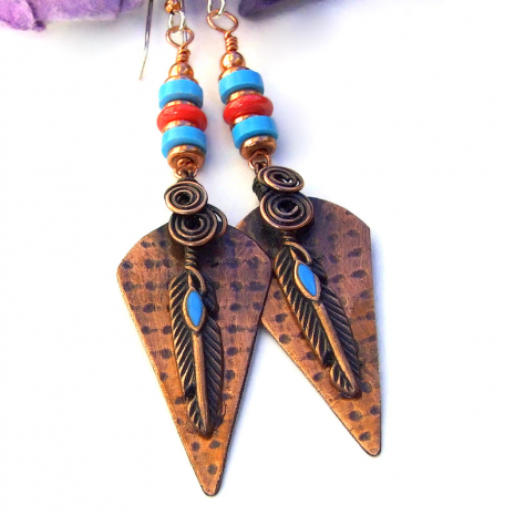 copper turquoise coral copper feather jewelry
