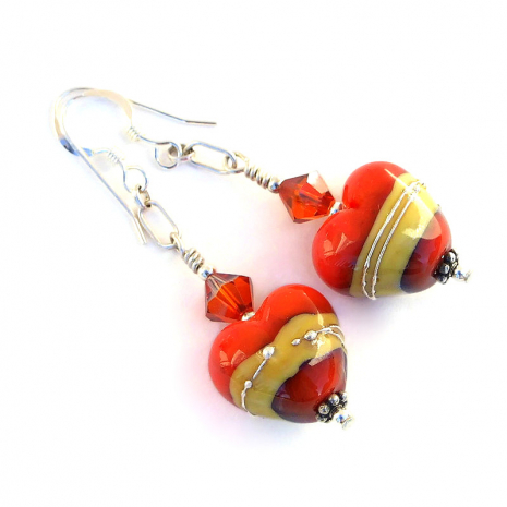 coral and ivory lampwork hearts earrings gift for her