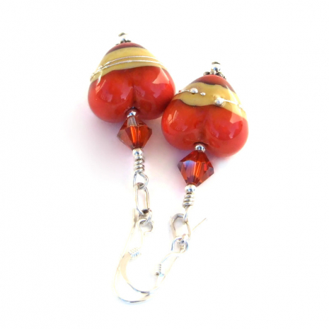 coral and ivory lampwork hearts jewelry gift for her