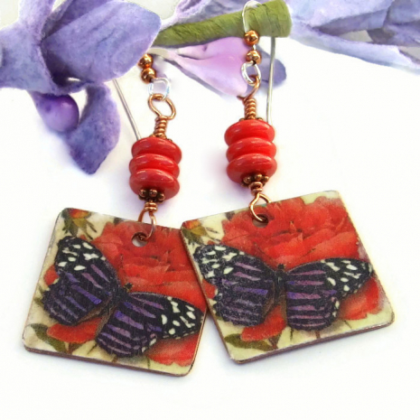 faux tin copper butterfly and roses earrings for her