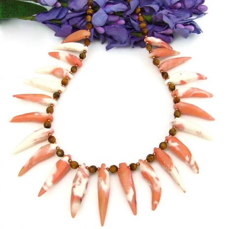 coral spikes tigers eye handmade beach necklace copper