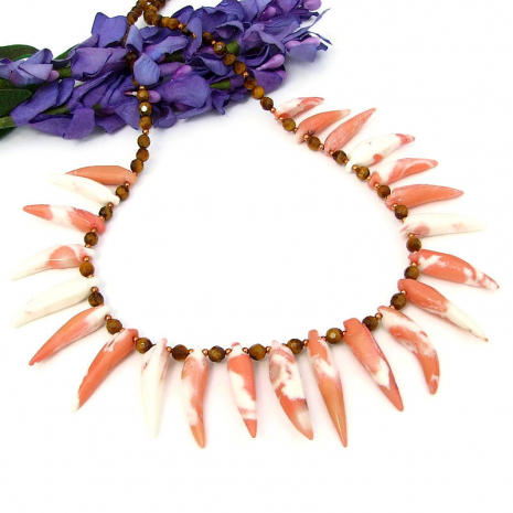 coral spikes tigers eye jewelry gift for women