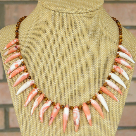 coral spikes tigers eye necklace gift for women