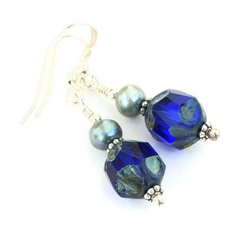 Blue dangle earrings.